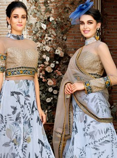 Fantastic Light Grey Digital Print Lehenga
