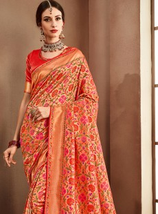Fantastic Peach Colour Weaving Silk Saree