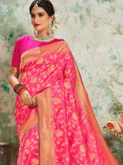 Fantastic Rani Colour Jaal Work Saree