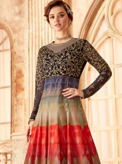 Glamorous Multi Colour Print Designer Gown