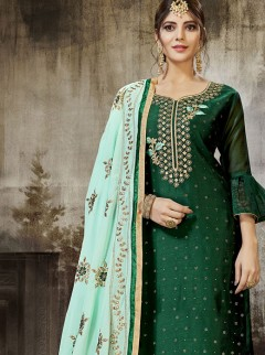 Gorgeous Green Color Party Wear Suit