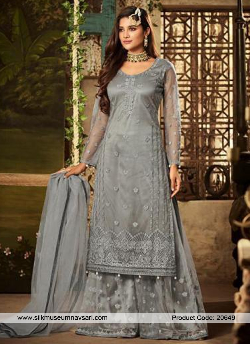 Gorgeous Grey Colour Net Designer Suit