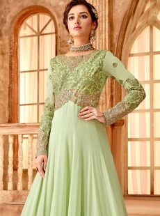 Gorgeous Light Green Colour Georgette Gown