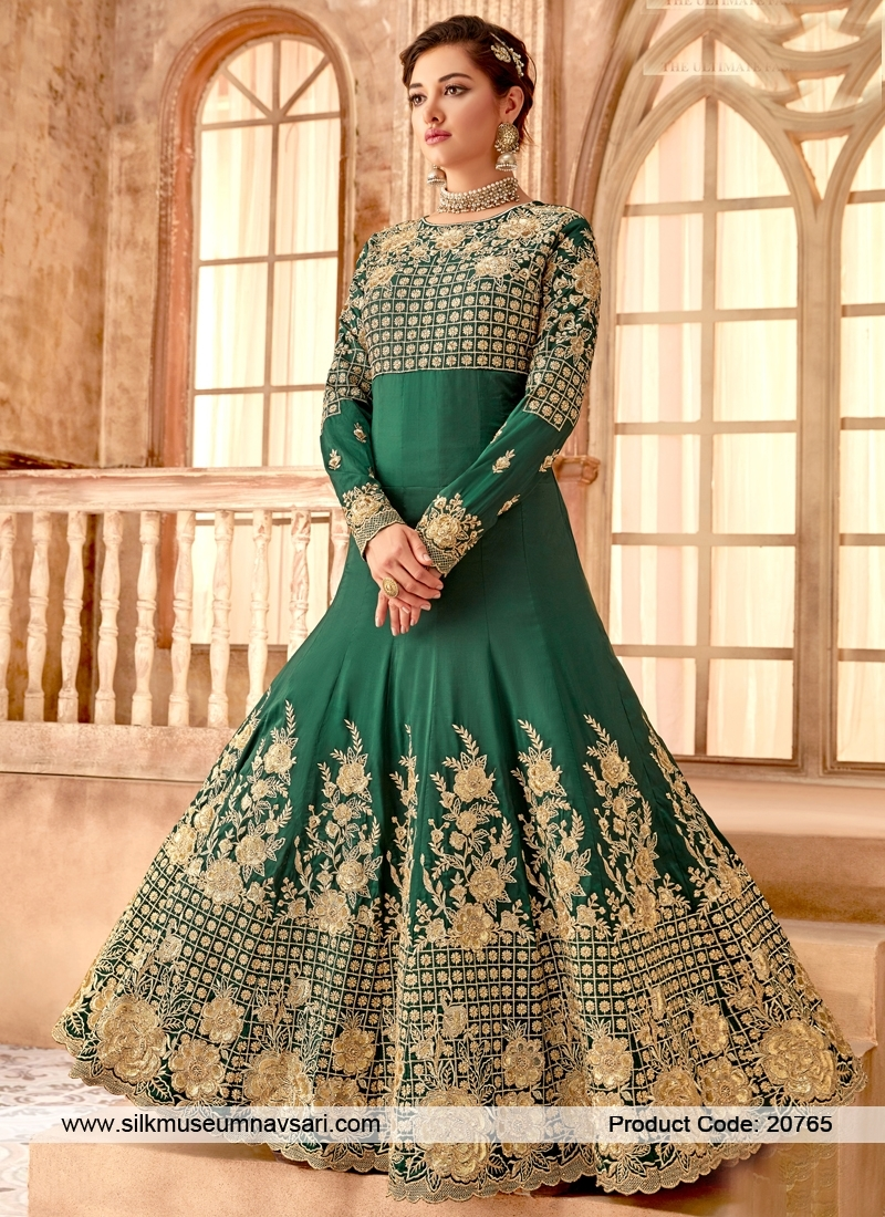 Initializing Green Colour Silk Designer Gown