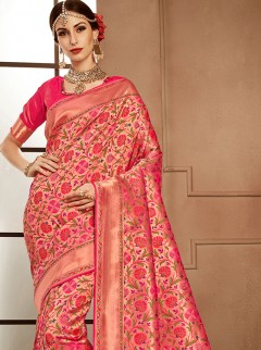 Initializing Pink Colour Silk Designer Saree