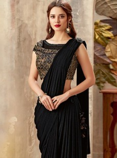 Latest Fancy Black Colour Designer Saree