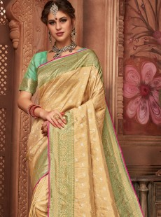 Latest Light Gold Colour Silk Saree