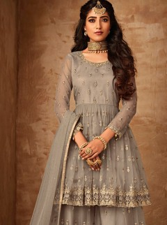 Latest Light Grey Colour Net Garara Suit