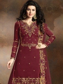 Latest Maroon Colour Satin Silk Designer Suit