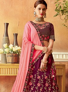 Latest Medium Violet Red Embroidery Lehenga