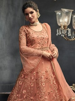 Latest Peach Colour Net Designer Gown