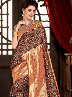Lovely Black Colour Patora Silk Saree
