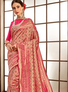 Magnificent Hot Pink Colour Silk Designer Saree