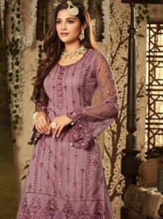 Magnificent Violet Colour Net Palazzo Suit