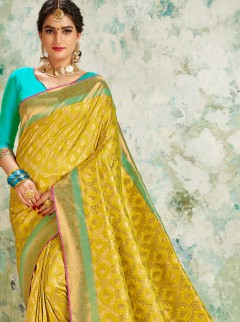 Opulent Moderate Yellow Weaving Saree