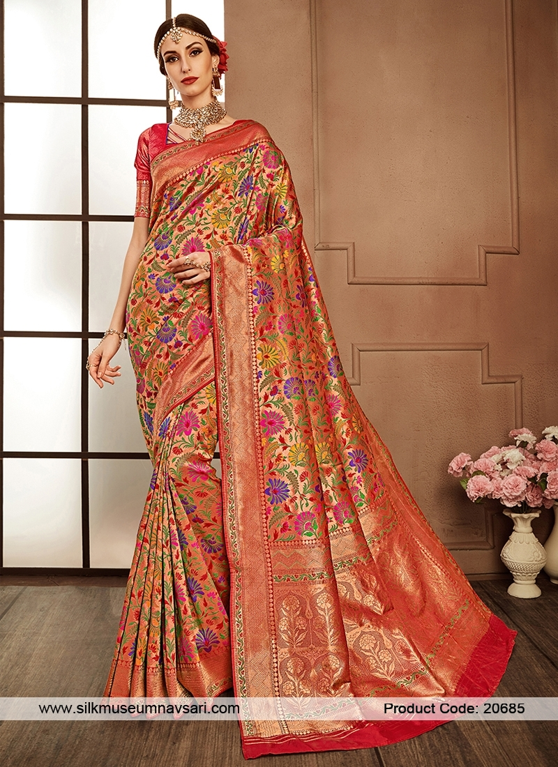 Opulent Peach Colour Resham Work Saree