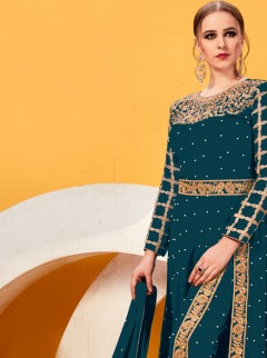 Opulent Teal Green Fancy Designer Suit