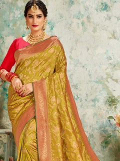 Outstanding Moderate Yellow Weaving Saree