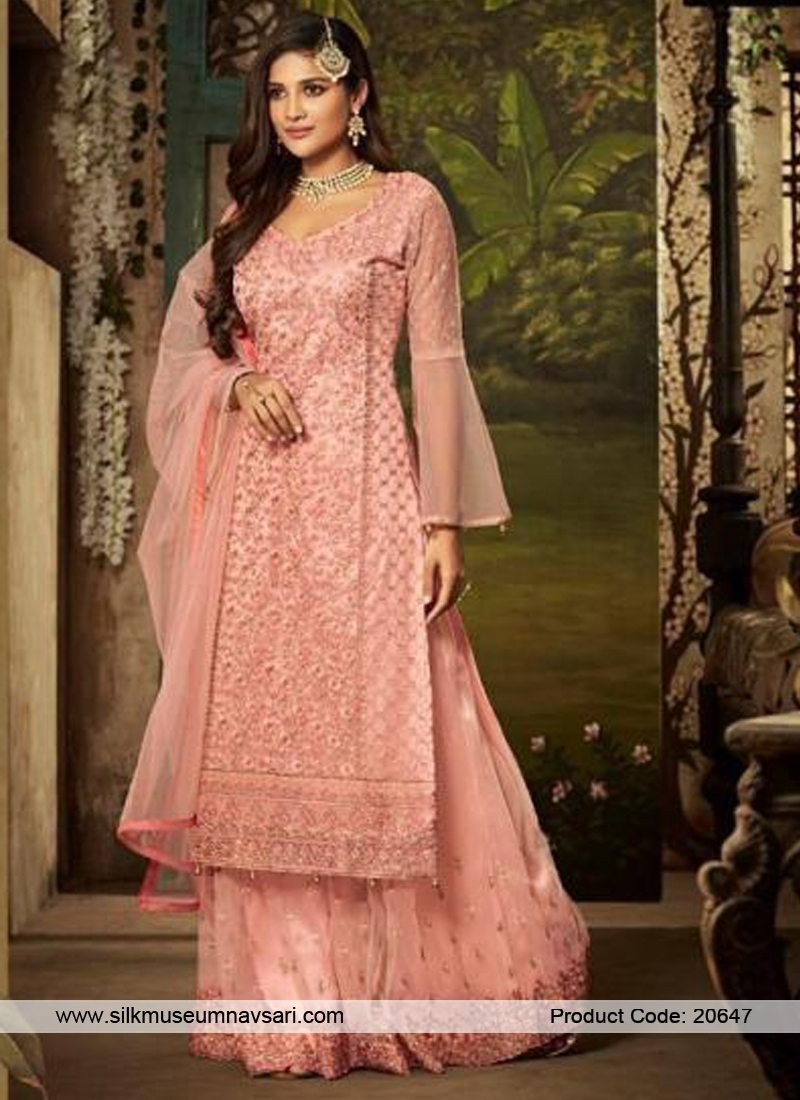 Outstanding Pink Colour Net Designer Palazzo Suit