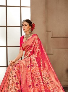 Outstanding Rani Colour Resham Work Saree