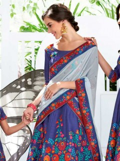Pretty Royal Blue And Light Grey Lehenga Choli