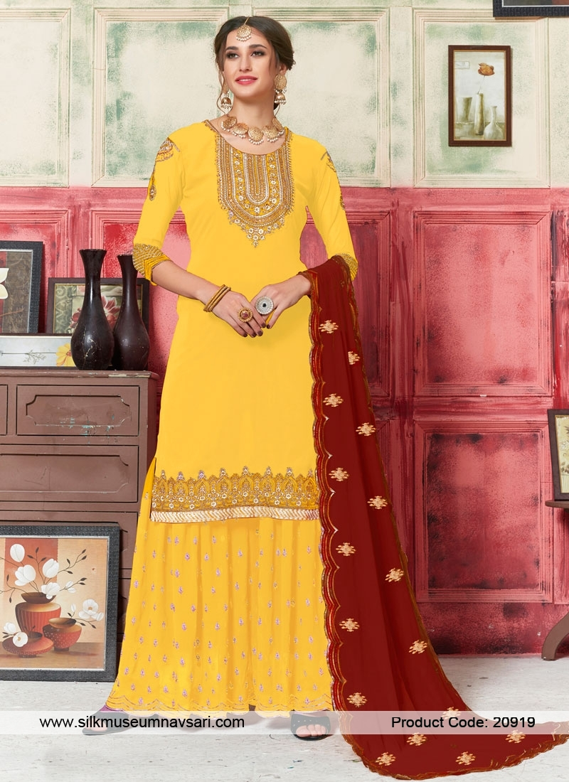 Pristine Yellow And Red Georgette Plazzo Suit