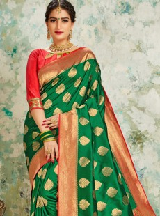 Rapturous Green Colour Festival Saree