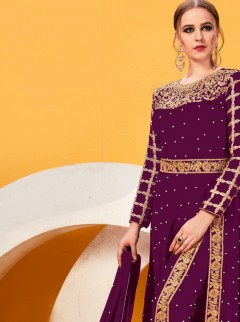 Rapturous Purple Colour Embroidery Border Suit