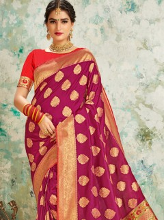 Regal Magenta Colour Butta Work Saree
