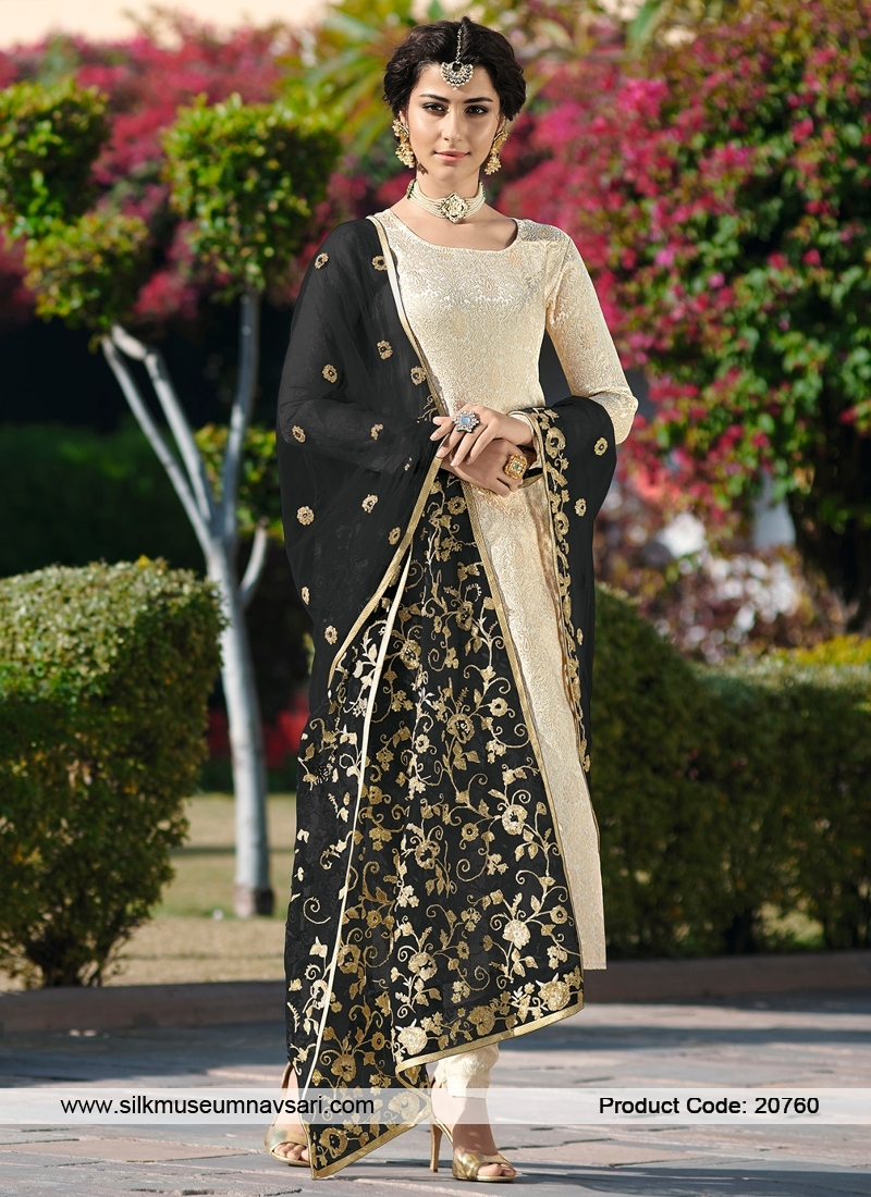 Resplendent Cream Colour Designer Suit