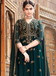 Resplendent Teal Green Embroidery Suit