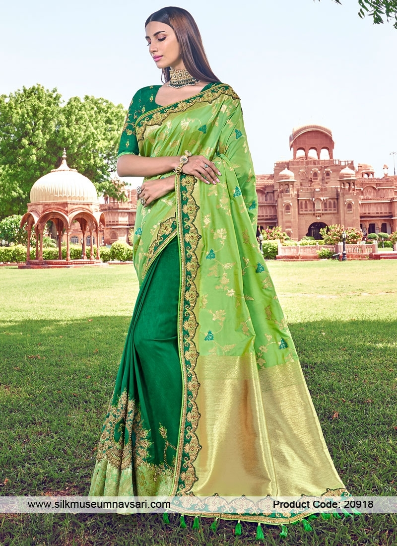 Royal Green Banarasi Brocade Silk Sarees