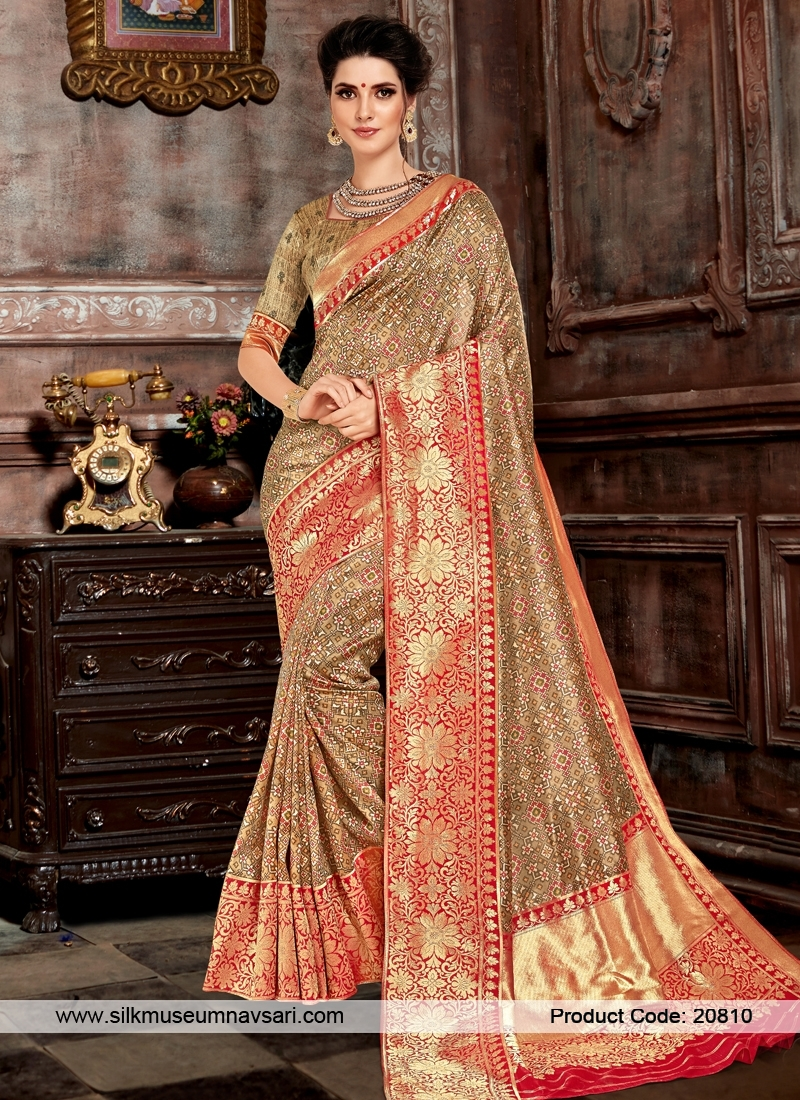 Snazzy Beige Colour Bhagalpuri Silk Saree