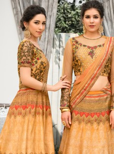 Snazzy Gold Colour Embroidery Designer Lehenga Choli
