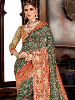 Spectacular Dark Green Colour Silk Saree