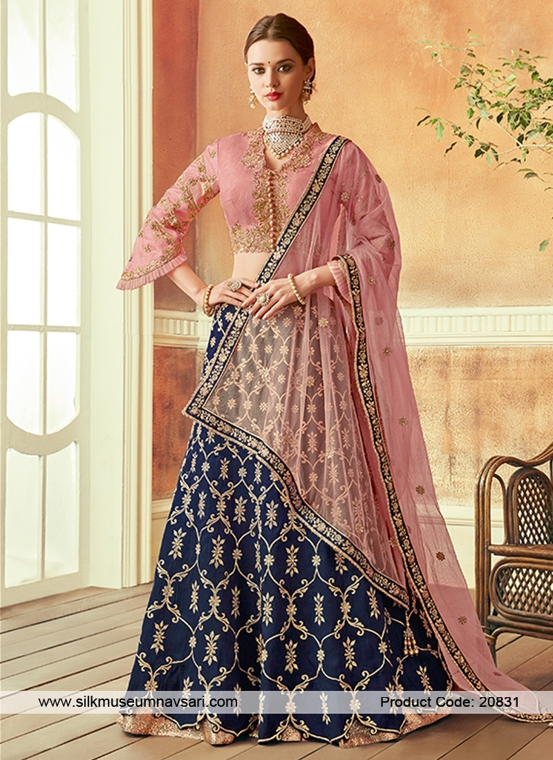 Spectacular Navy Blue Colour Embroidery Lehenga