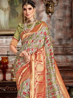 Stunning Bhagalpuri Soft Silk Designer Saree