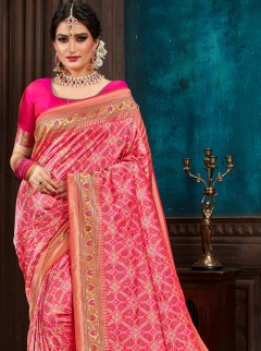 Stunning Rani Pink Colour Patora Silk Saree