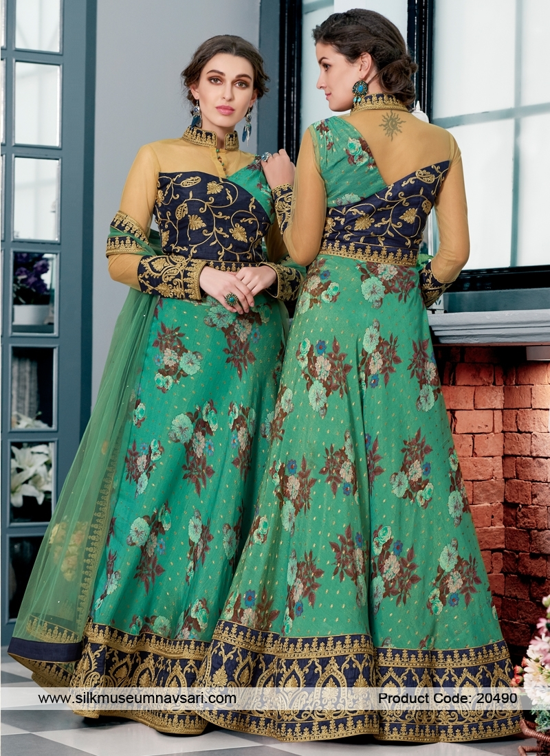 Stunning Sea Green Pure Silk Lehenga