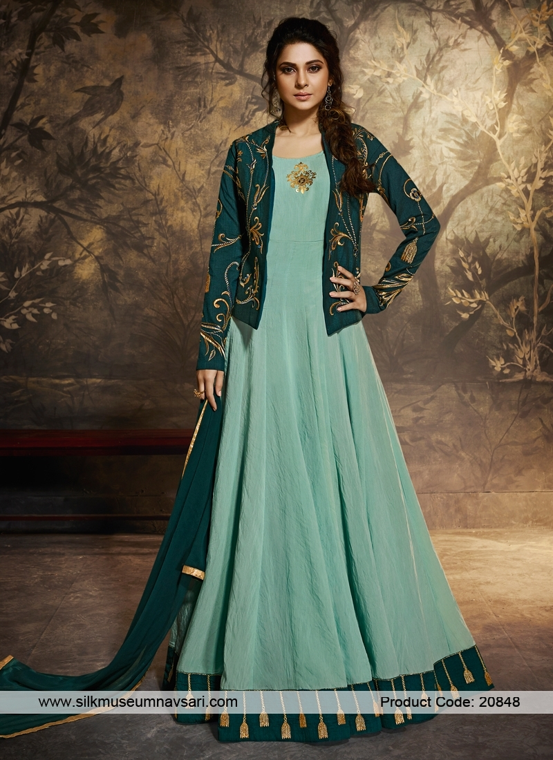 Stupendous Blue Berry Silk Koti And Border Silk Top Suit