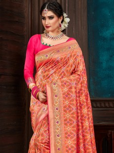 Stupendous Orange Colour Patora Silk Saree