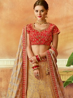 Stupendous Red And Gold Colour Embroidery Lehenga Choli