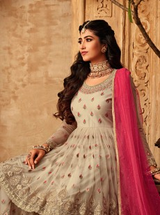 Stylish Beige Colour Embroidery Garara Suit
