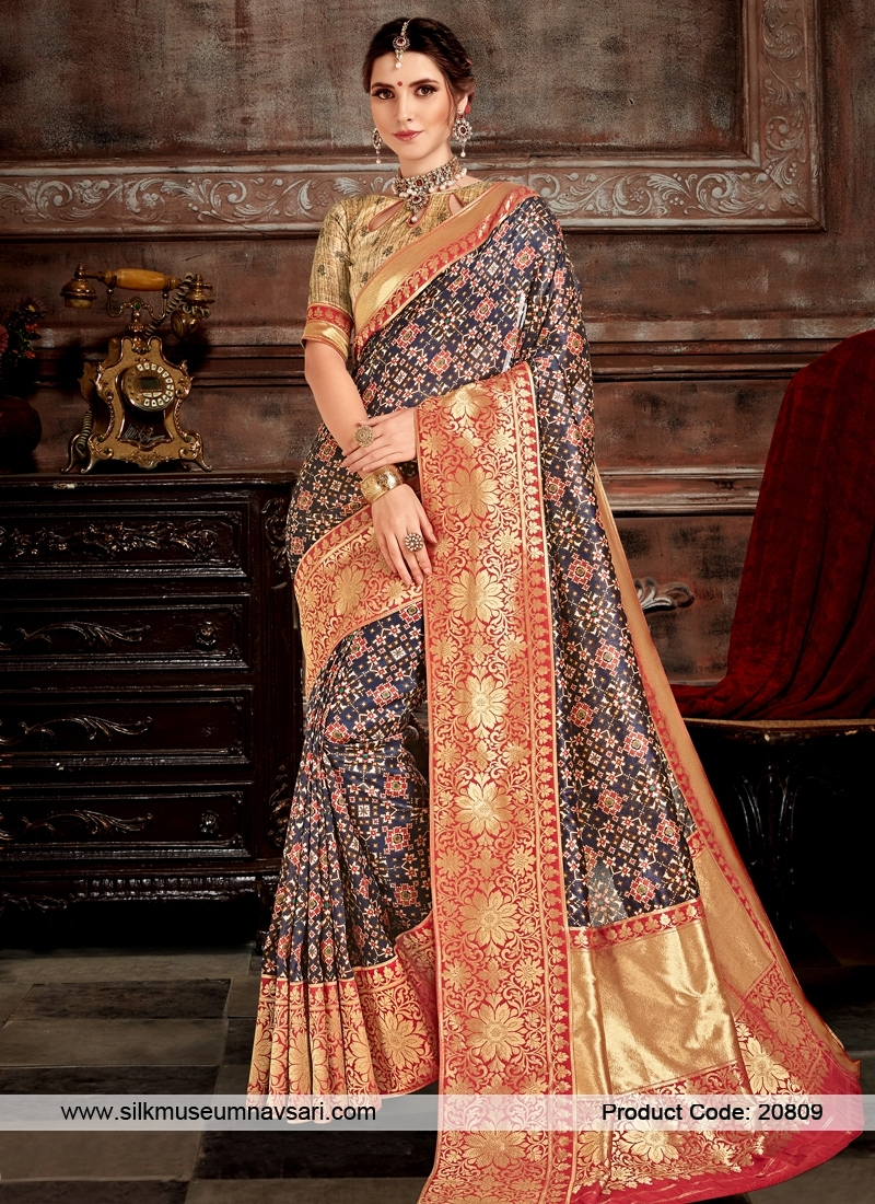 Stylish Dark Blue And Print Designer Saree