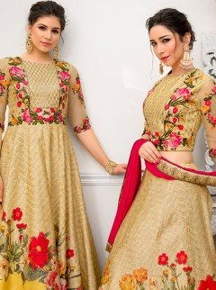 Stylish Gold And Yellow Colour Lehenga Choli