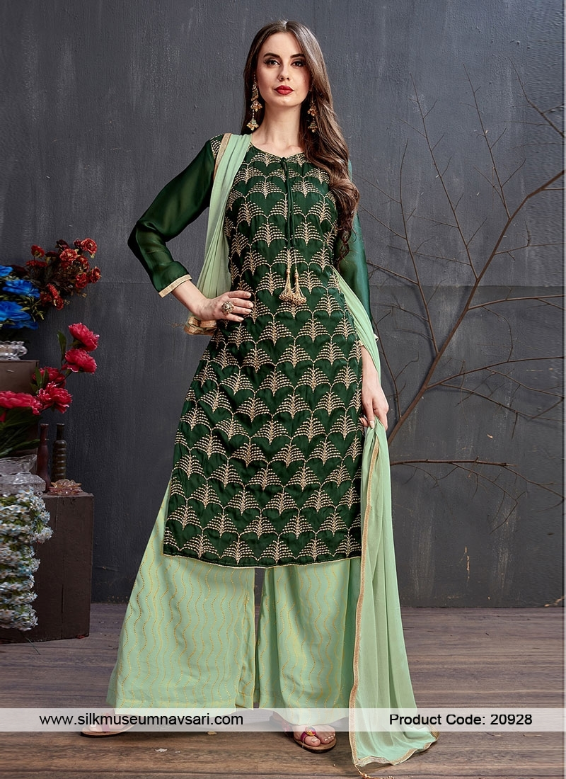Stylish Green Color Party Wear Gharara Suit