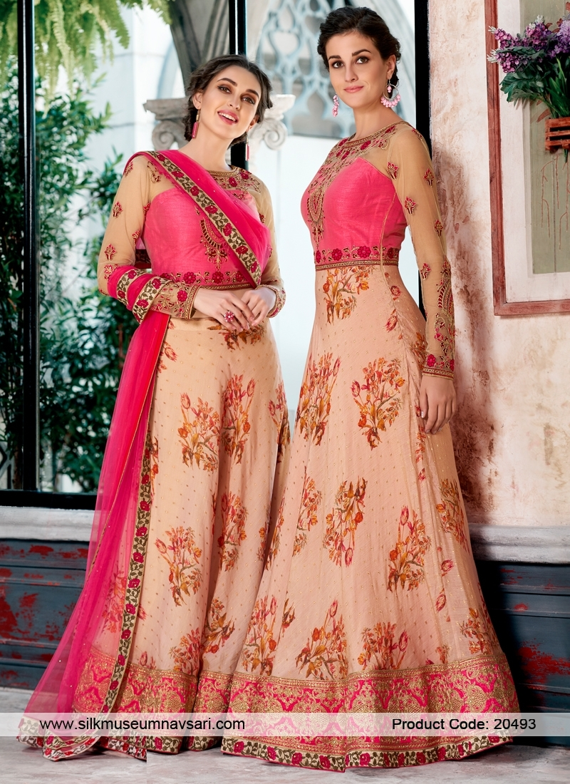 Stylish Peach Resham Work Designer Lehenga