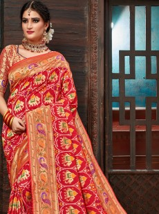 Stylish Red Colour Resham Work Designer Saree