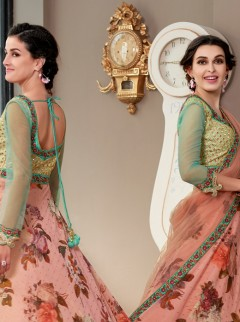 Sunshine Light Pink Digital Print Lehenga