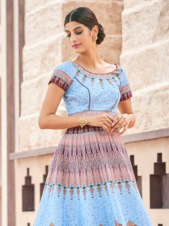 Sunshine Look Sky Blue Colour Silk Designer Suit